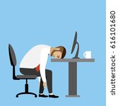 overworked and tired... | Shutterstock . vector #616101680