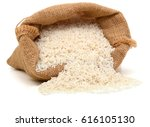 rice in burlap sack isolated on ... | Shutterstock . vector #616105130