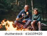 father and son roast... | Shutterstock . vector #616109420