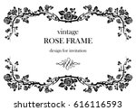 ornamental frame with roses.... | Shutterstock .eps vector #616116593