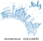 outline italy skyline with blue ... | Shutterstock .eps vector #616116830