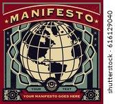 vintage propaganda of new world ... | Shutterstock .eps vector #616129040