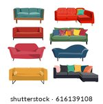 sofa interior design collection.... | Shutterstock .eps vector #616139108