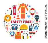 safety first   equipment and... | Shutterstock .eps vector #616146026