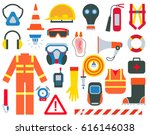 safety equipment and supplies... | Shutterstock .eps vector #616146038