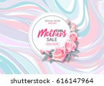 Stock vector mother s day sale background with beautiful pink roses on marble background vector illustration 616147964