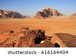 panorama view of wadi rum... | Shutterstock . vector #616164404