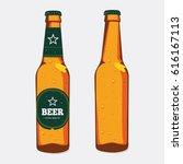glass beer brown bottle with... | Shutterstock .eps vector #616167113