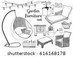 doodle garden furniture set.... | Shutterstock .eps vector #616168178