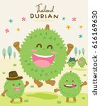 cute durian happy jumping... | Shutterstock .eps vector #616169630