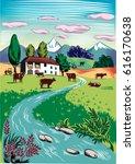 rural landscape with grazing... | Shutterstock .eps vector #616170638