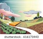 agricultural landscape  with... | Shutterstock .eps vector #616173443