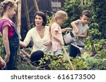 children are in the garden... | Shutterstock . vector #616173500