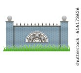 brick fence with pillars and...   Shutterstock .eps vector #616173626