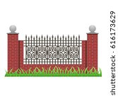 brick fence with pillars and...   Shutterstock .eps vector #616173629