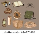 set of  vintage travel icons    ... | Shutterstock .eps vector #616175408