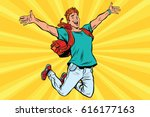 young man jumping for joy. pop... | Shutterstock .eps vector #616177163