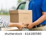 hand accepting a delivery of... | Shutterstock . vector #616180580