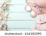 summer beach accessories with... | Shutterstock . vector #616181090