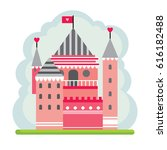 pink fairytale castle for... | Shutterstock .eps vector #616182488