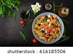 pasta in the shape heart salad...   Shutterstock . vector #616185506