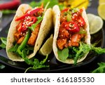 mexican tacos with chicken... | Shutterstock . vector #616185530