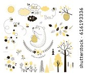 cute bear with beehive   design ... | Shutterstock .eps vector #616193336