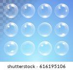 set of shiny bubbles vector...   Shutterstock .eps vector #616195106