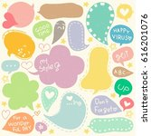 set of hand drawn speech and... | Shutterstock .eps vector #616201076