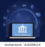 concept for mobile banking and... | Shutterstock .eps vector #616208114