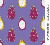 pitaya. exotic fruit. vector... | Shutterstock .eps vector #616208210