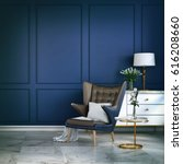 classic blue room  3d render | Shutterstock . vector #616208660