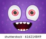 Happy Monster Face Fun Vector...