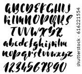 hand drawn dry brush font.... | Shutterstock .eps vector #616221554