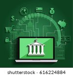 concept for mobile banking and... | Shutterstock .eps vector #616224884