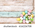 easter eggs and flowers on...   Shutterstock . vector #616226708