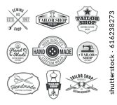 set of vintage tailor emblem... | Shutterstock . vector #616238273
