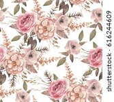 seamless watercolor floral... | Shutterstock . vector #616244609