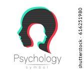 modern head sign of psychology. ... | Shutterstock .eps vector #616251980