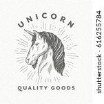 Vintage Hand Drawn Unicorn Hea...