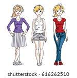 happy pretty young women... | Shutterstock .eps vector #616262510