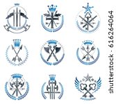 vintage weapon emblems set.... | Shutterstock .eps vector #616264064