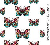 embroidery colorful butterfly.... | Shutterstock .eps vector #616265540