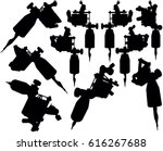 lot of black silhouette graphic ... | Shutterstock .eps vector #616267688