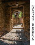 Small photo of Close-up of stone staircase and arch in an alleyway, at the gorgeous medieval hamlet of Les Arcs-sur-Argens, near Draguignan. Located in the Provence region, Var department, southeastern France