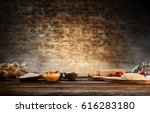 baking ingredients placed on... | Shutterstock . vector #616283180