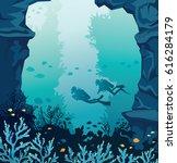 underwater marine life. vector... | Shutterstock .eps vector #616284179