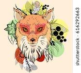 hand drawn ink doodle fox.... | Shutterstock .eps vector #616292663