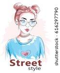 young girl portrait. beautiful... | Shutterstock .eps vector #616297790