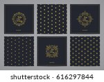 luxury retro wedding cards with ... | Shutterstock .eps vector #616297844